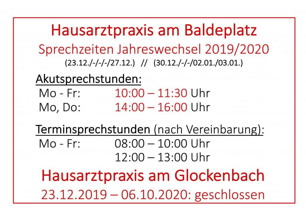 Öffnungszeiten Jahreswechsel 2019 - Hausarztpraxis München